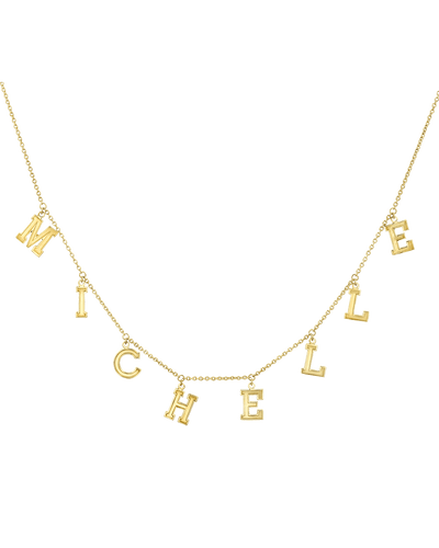 Name Chain Necklace- Varsity -18K Yellow Gold Plated- The Adorned-