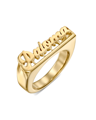 Name Ring Grove -18K Yellow Gold Plated- The Adorned -