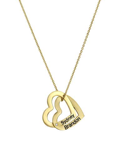 Open Double Hanging Hearts Necklace -18K Yellow Gold Plated- The Adorned-