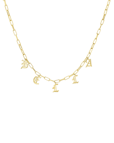 Open Link Name Chain - Blackletter -18K Yellow Gold Plated- The Adorned-