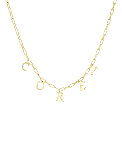 Open Link Name Chain - Serif -18K Yellow Gold Plated- The Adorned-