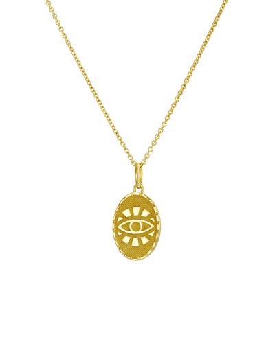 Oval Evil Eye Medallion -18K Yellow Gold Plated- The Adorned-
