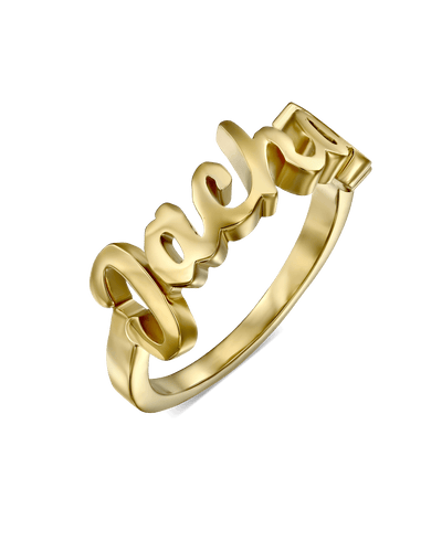 Script Name Ring -18K Yellow Gold Plated- The Adorned-
