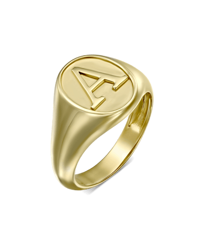 Serif Signet Ring -18K Yellow Gold Plated- The Adorned-