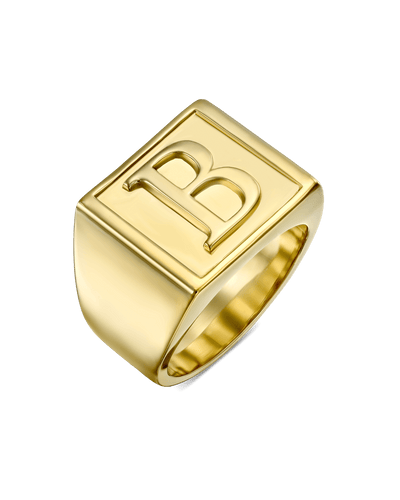 Square Signet Serif Ring -18K Yellow Gold Plated- The Adorned-