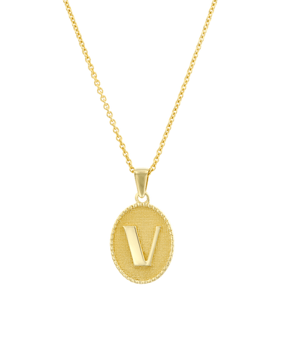 The Oval Initial Medallion -18K Yellow Gold Plated- The Adorned-