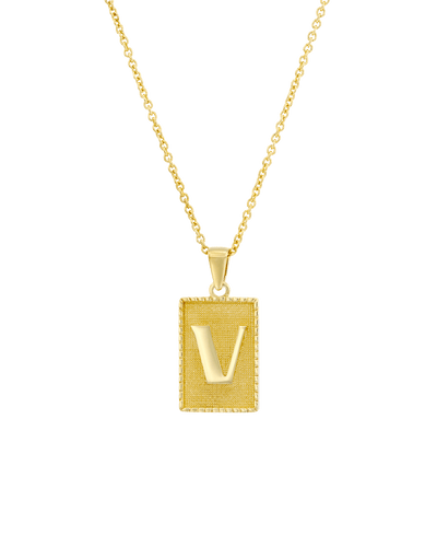 The Rectangle Initial Dogtag -18K Yellow Gold Plated- The Adorned-
