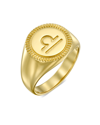 The Zodiac Signet Ring -18K Yellow Gold Plated- The Adorned-