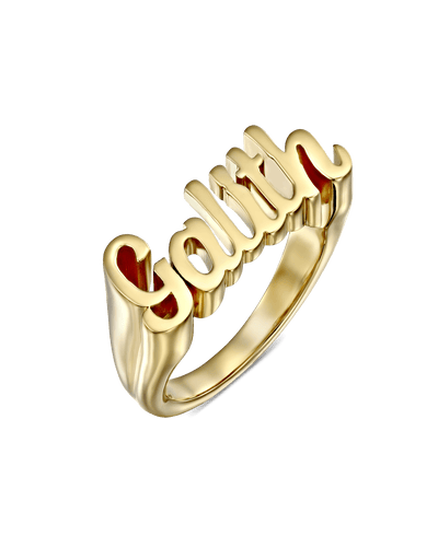 Thick Classic Script Name Ring -18K Yellow Gold Plated- The Adorned-