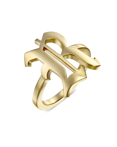 Thin Blackletter Letter Ring -18K Yellow Gold Plated- The Adorned-