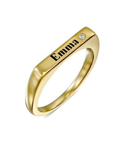 Thin Engraved Stackable Name Ring -18K Yellow Gold Plated- The Adorned-