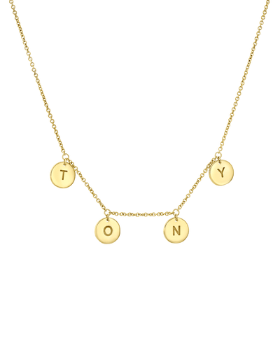 Tiny Letter Pendant Necklace -18K Yellow Gold Plated- The Adorned-