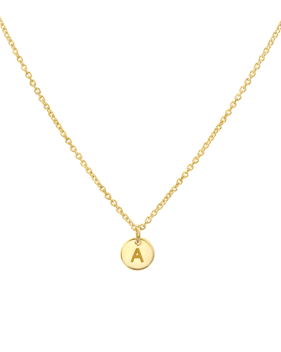 Tiny Single Letter Pendant Necklace -18K Yellow Gold Plated- The Adorned-