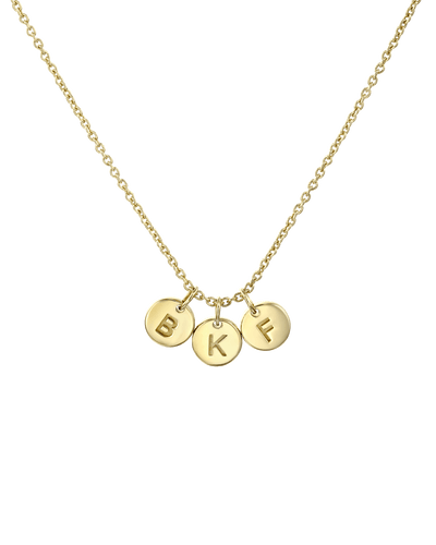 Tiny Triple Letter Pendant Necklace -18K Yellow Gold Plated- The Adorned-