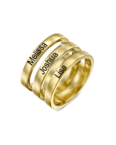Tripple Stacked Engraved Ring -18K Yellow Gold Plated- The Adorned -