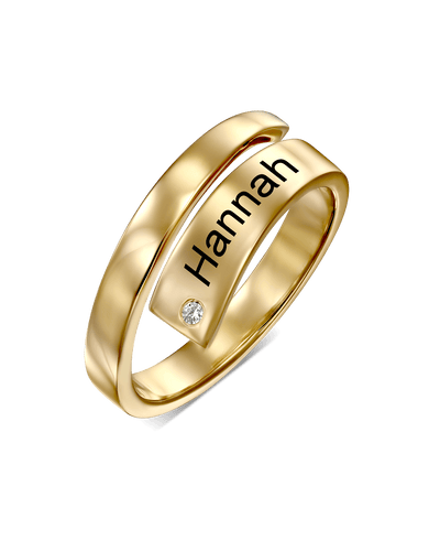 Wrapped Single Engraving Stacked Ring -18K Yellow Gold Plated- The Adorned-