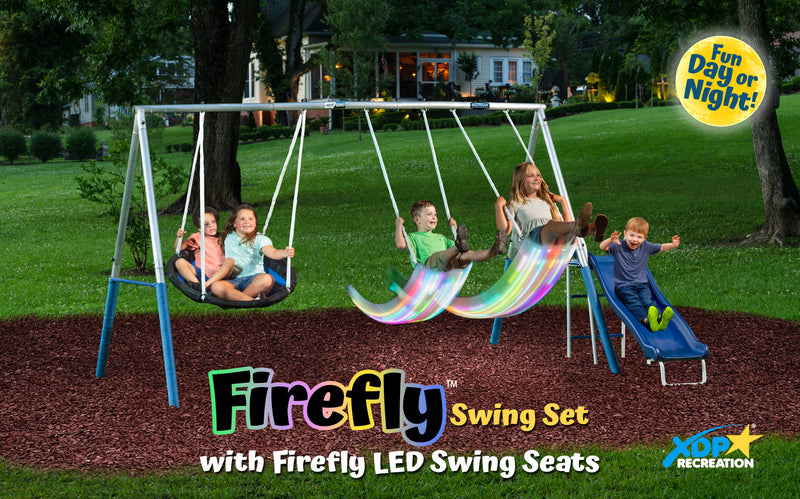 XDP Recreation FIREFLY Metal Swing Set with LED Swing Seats and Galvanized Steel