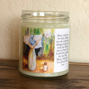 MARY AND JESUS CANDLE (FRESH LINEN)