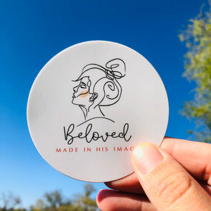 "BELOVED ROUND 3"" VINYL STICKER"