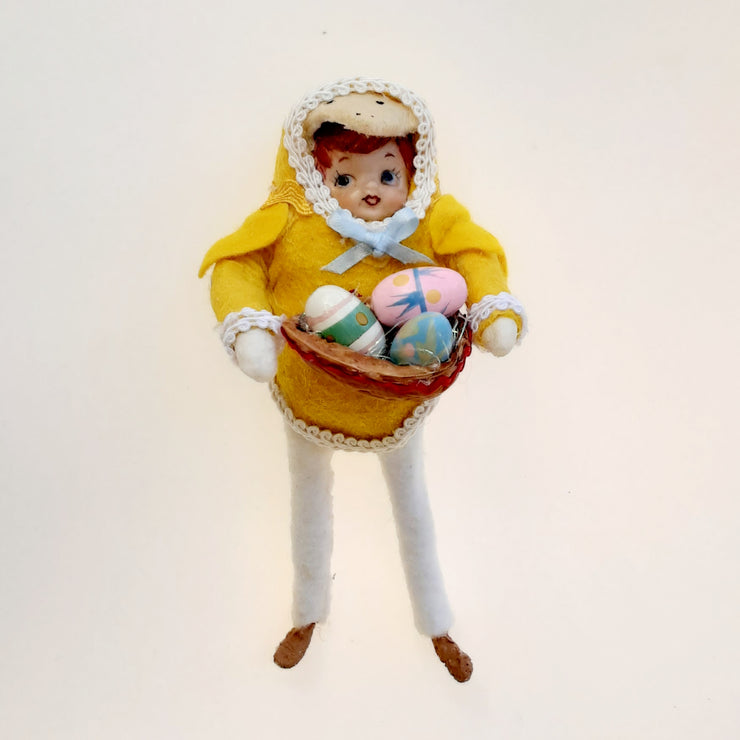 Edwin and his Easter eggs - cotton batting figure
