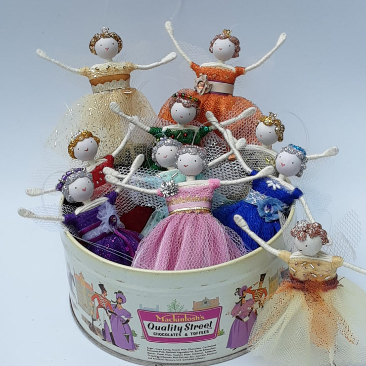 Sweetie Tin Fairies set of nine PLUS free bonus gift of the Harrogate Toffee Fairy