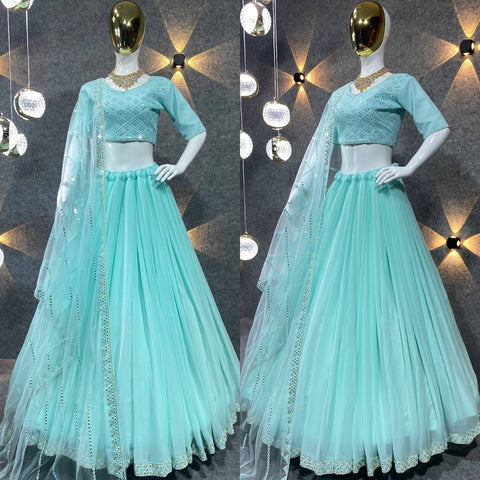 Pink Embroidered Attractive Party Wear Malay satin Material With Stone work Lehenga LC 03