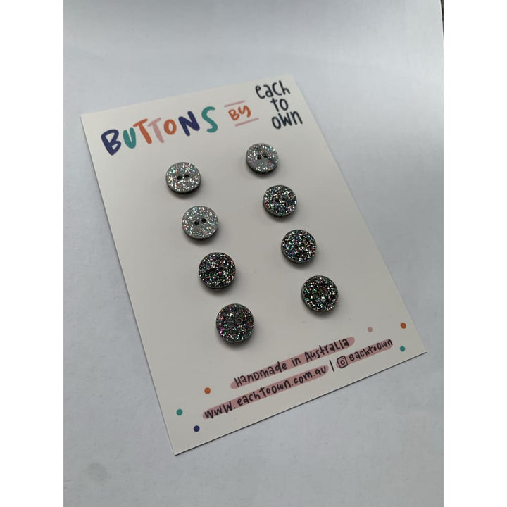 BUTTONS BY EACH TO OWN - CONFETTI GLITTER - Acrylic - 15mm -