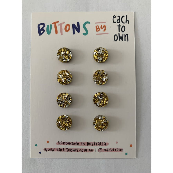 BUTTONS BY EACH TO OWN - GOLD GLITTER - Acrylic - 15mm - 2
