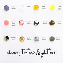 BUTTONS BY EACH TO OWN - GOLD GLITTER - Acrylic - 15mm - 2 Hole Buttons - Round - 8 per card