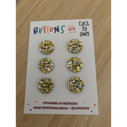 BUTTONS BY EACH TO OWN - GOLD GLITTER - LARGE - Acrylic -