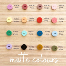 BUTTONS BY EACH TO OWN - MATTE PURPLE - Matte Acrylic - 15mm - 2 Hole Buttons - Round - 8 per card