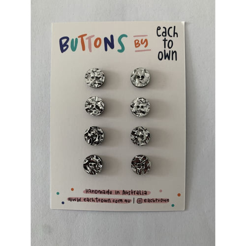 BUTTONS BY EACH TO OWN - SILVER GLITTER - Acrylic - 15mm - 2