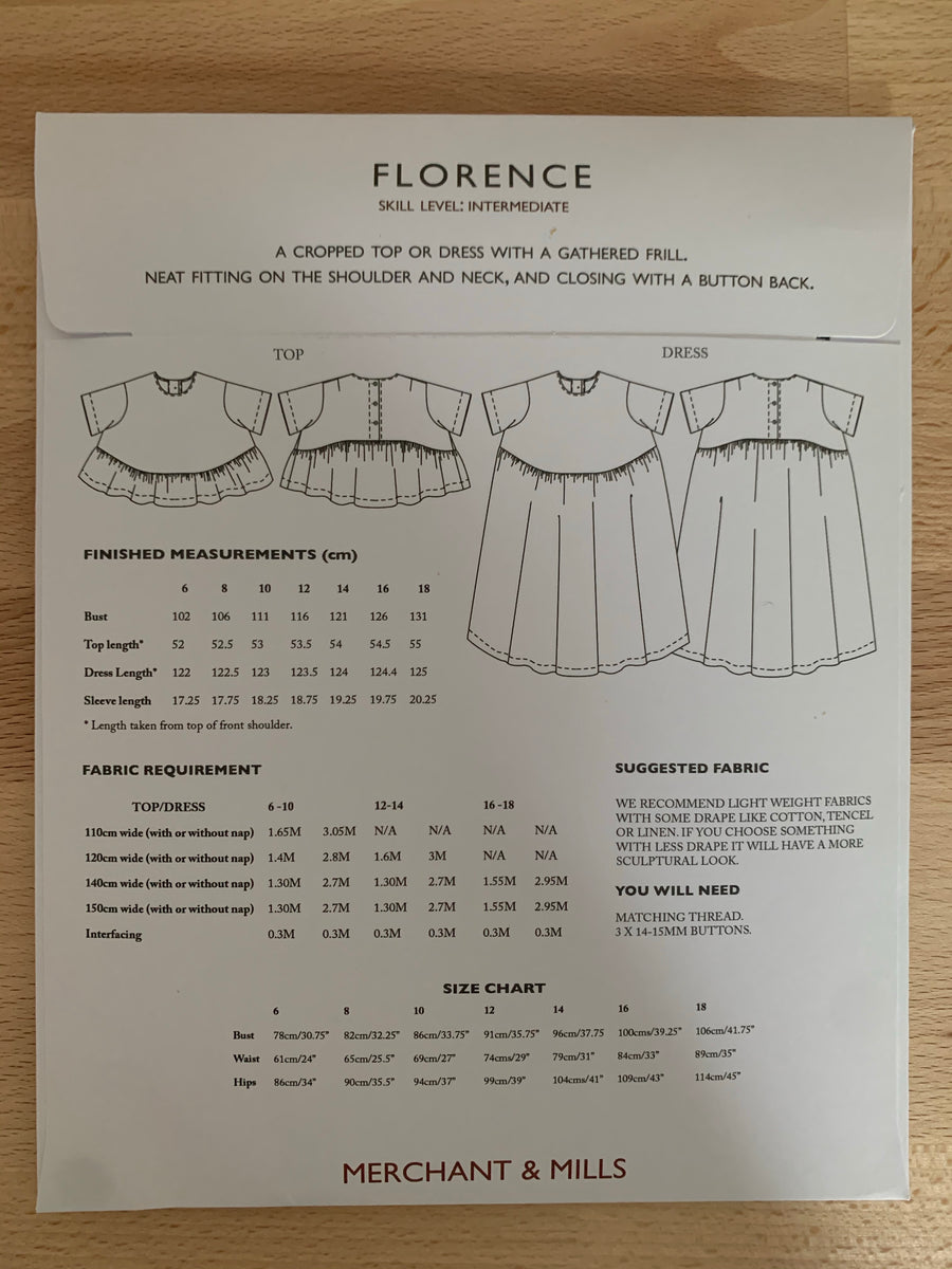 Merchant and Mills - Florence Top & Dress - Sewing Pattern
