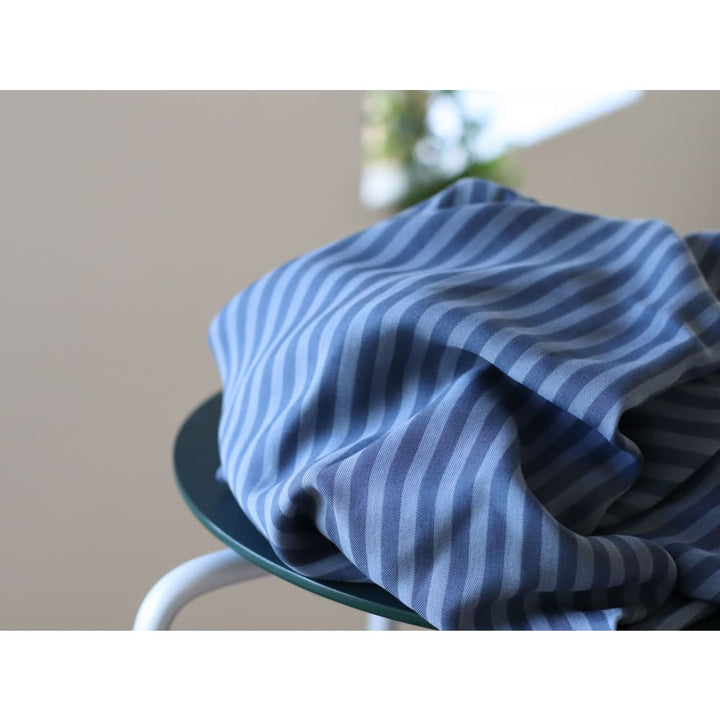 Meet MILK Two-Tone Stripe Tencel Twill Dusty Blue - fabric