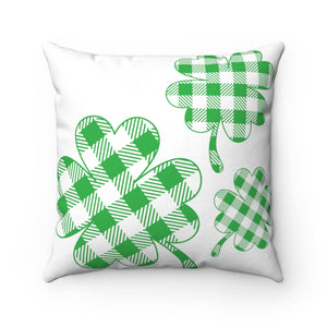 Green Plaid Shamrock Decorative Throw Pillow | St. Patrick's Day Decor | Cute Irish Theme Pillow | For Leaf Clover