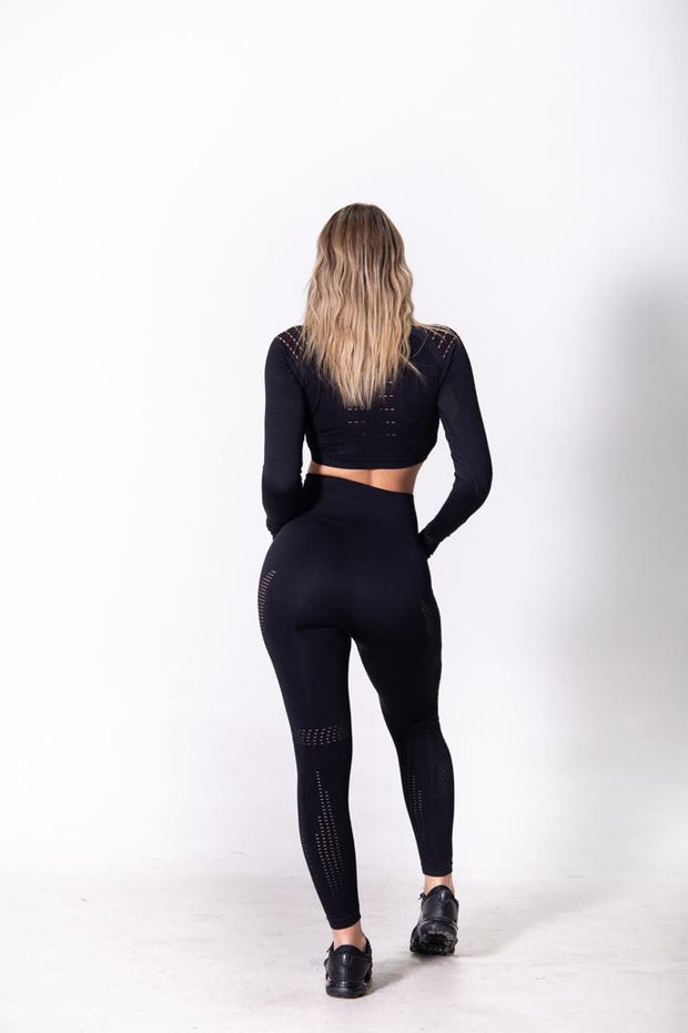 Seamless Long Sleeve Crop - Black