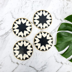 Coaster black & white bone inlay brass surround