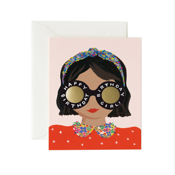 Carte anniversaire Birthday girl brune Rifle paper