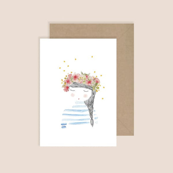 Carte postale La fille aux fleurs My Lovely Things