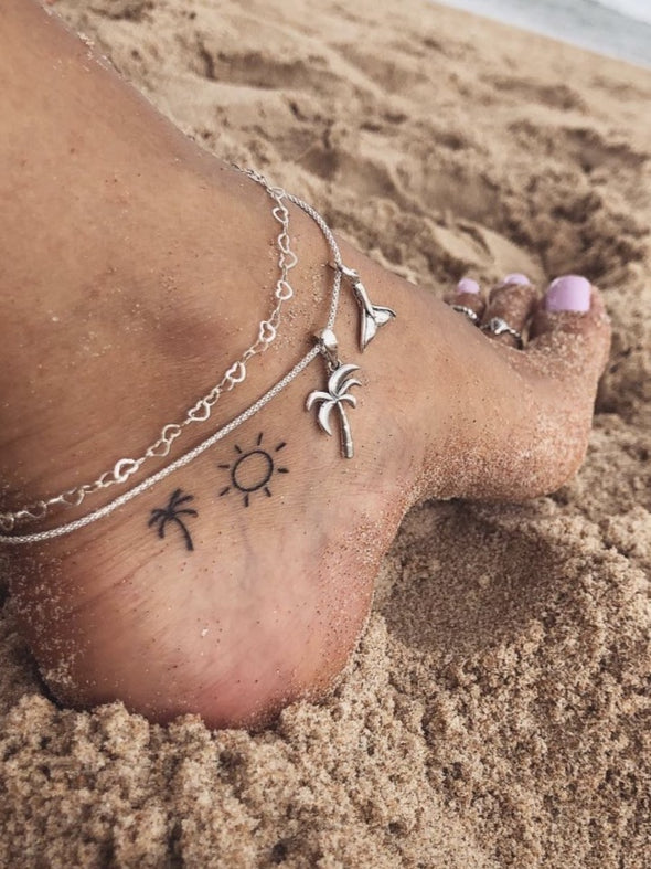 Silver 925 Anklet - Hearts Together