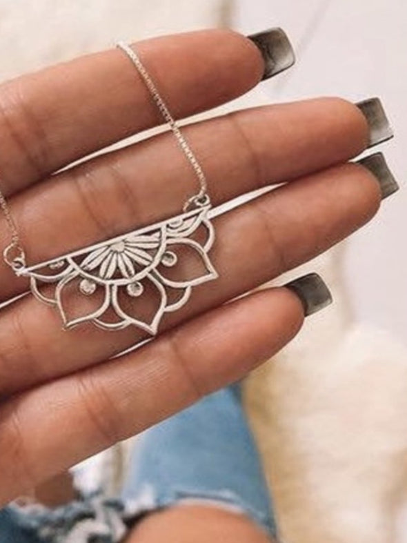 Silver 925 Necklace - Mandala Flower
