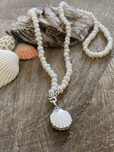 Silver 925 Necklace - Pearls and Shell