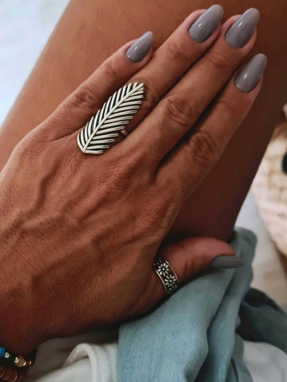 Silver 925 Ring - Feather Wisdom (Large)