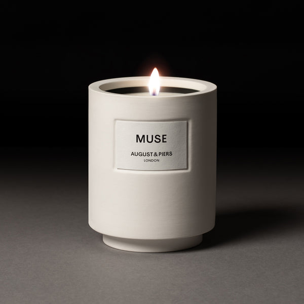 AUGUST&PIERS 340g Muse scented candle with fragrance notes of bergamot, benzoin and vanilla in white ceramic vessel.