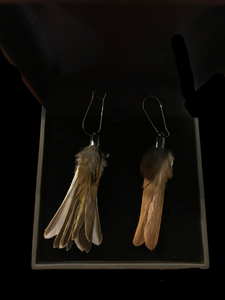 Antoinette Ratcliffe Sparrow and Chaffinch Feather Earrings