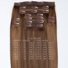 Load image into Gallery viewer, #6 Cappuccino Color Clip-in hair Extensions-11pc.