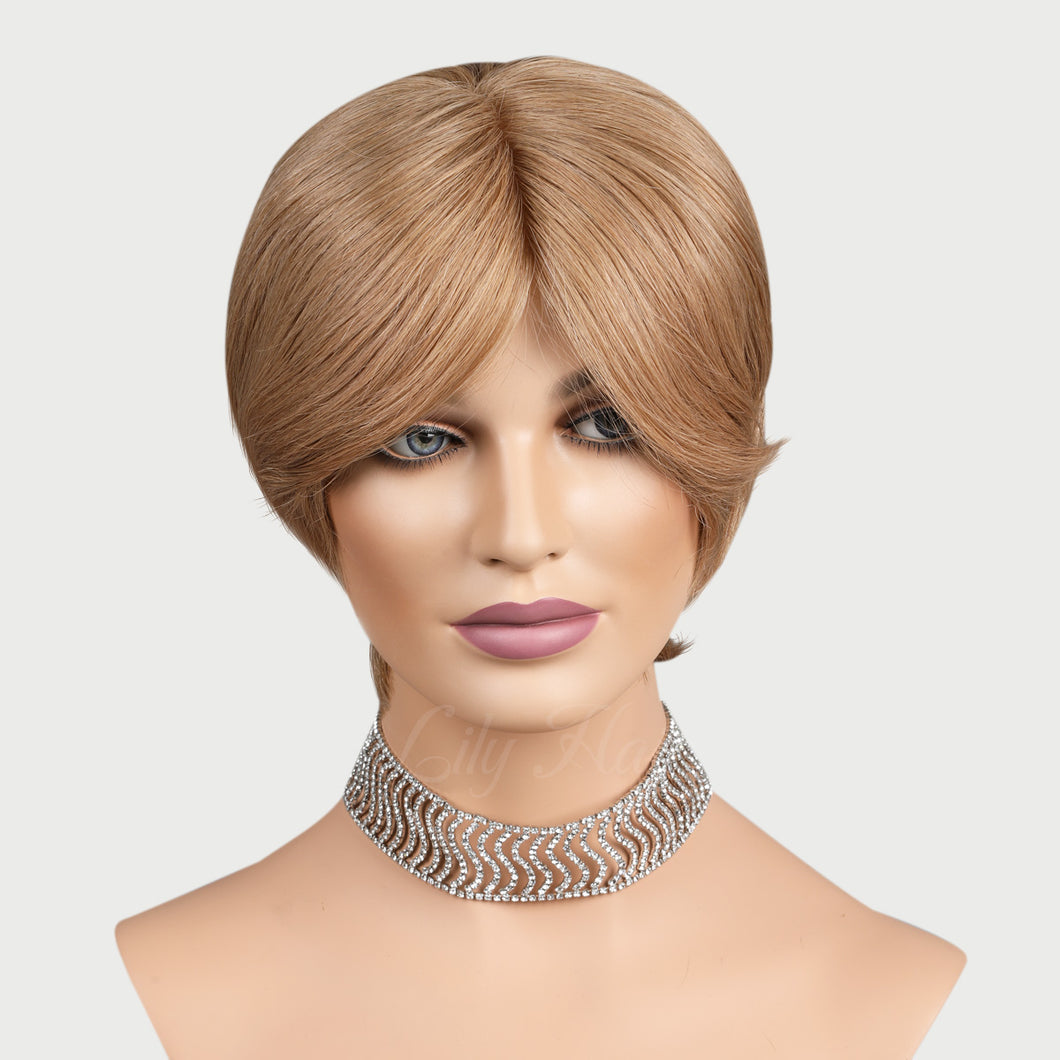 Janell 100% Human Hair Pixie Monofilament Wigs #12