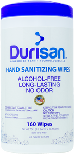"Durisan Hand Sanitizer 6"" x 6.75"" Wipes - 160 Count - Single"