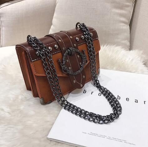 April Luxury PU Leather Rivet Lock Chain Bag