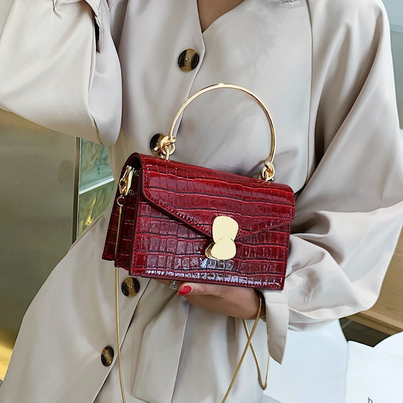 Sharon Stone Luxury Pattern PU Leather Crossbody Bag